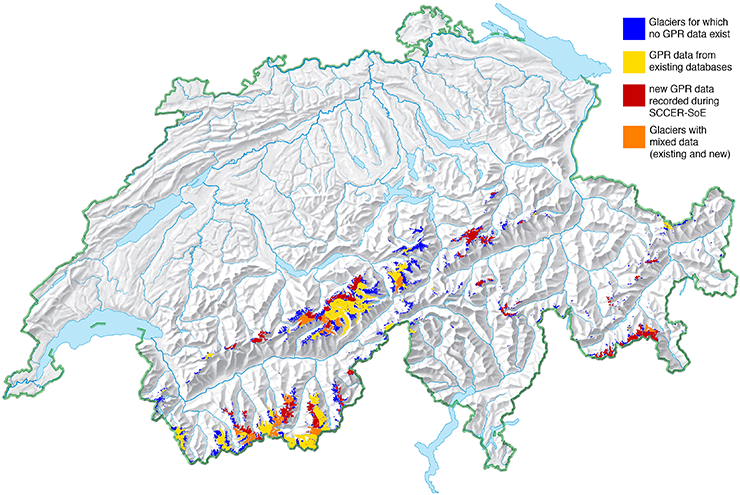 Glaciers measured within the SCCER-SoE framework from 2016 onwards.